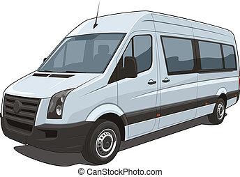 Van - Vector isolated van passenger and cargo on white...