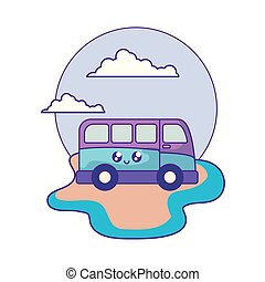 van vehicle kawaii in the beach