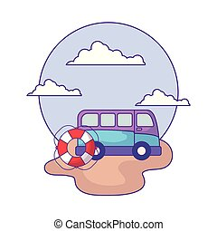 van vehicle with float protection in beach