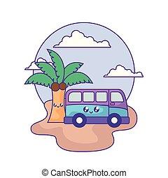 van vehicle with palm tropical kawaii in the beach