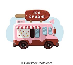 Van with ice cream, mobile shop.
