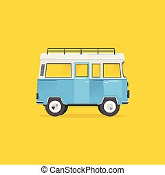 Van with on top of the roof on yellow background. Vector. Illustrator