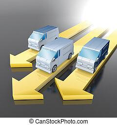 3D illustration rendering, Van with yellow arrows