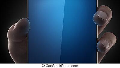 vana, smartphone, in, kvinna, hand
