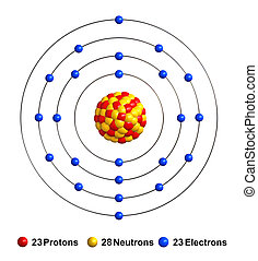 3d render of atom structure of vanadium isolated over white background Protons are represented as red spheres, neutron as yellow spheres, electrons as blue spheres