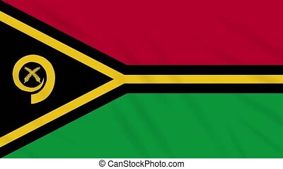 Vanatu flag waving cloth, background loop - Vanatu flag...