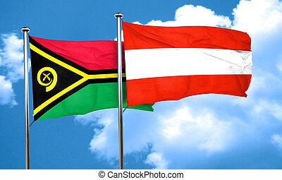 Vanatu flag with Austria flag, 3D rendering