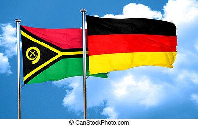 Vanatu flag with Germany flag, 3D rendering