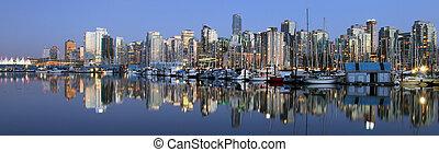 vancouver, śródmieście, panoramiczny, noc