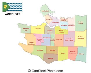 vancouver administrative map with flag
