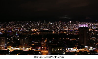 Vancouver at night. Timelapse.