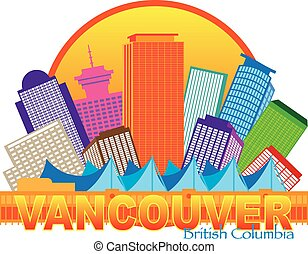 Vancouver BC Canada Skyline Circle Color Illustration