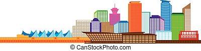Vancouver BC Canada Skyline Color Illustration