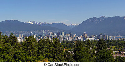 Vancouver BC City Skyline and Mountains View