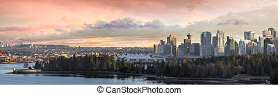 Vancouver BC City Skyline and Stanley Park along Burrard Inlet Panorama