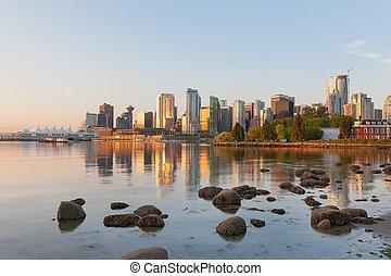 Vancouver BC City Skyline Morning