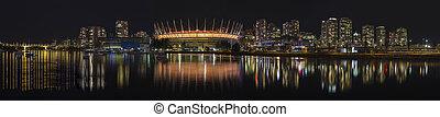 Vancouver BC City Skyline Night Scene Panorama
