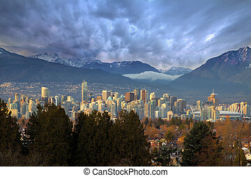 Vancouver BC City Skyline with Mountains - Vancouver British...