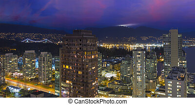 vancouver, bc, cityscape, an, dämmerung, panorama