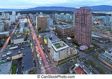 vancouver, bc, cityscape, an, dämmerung