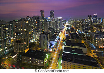 Vancouver BC Cityscape at Night Aerial