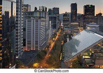 vancouver, bc, cityscape, em, amanhecer