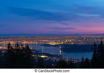 vancouver, bc, cityscape, löwen tor brücke, sonnenuntergang
