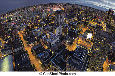 Vancouver BC Downtown Fisheye View - Vancouver BC Canada...