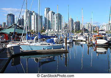 Vancouver BC downtown skyline at False creek Canada.