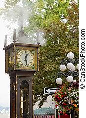 vancouver, bc, historyczny, gastown, para zegar