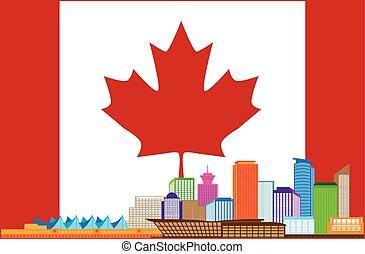 vancouver, bc, kanada, barwny, sylwetka na tle nieba, w, kanadyjska bandera, ilustracja