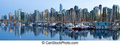 Vancouver BC Canada Skyline and Marina along False Creek at Blue Hour Panorama
