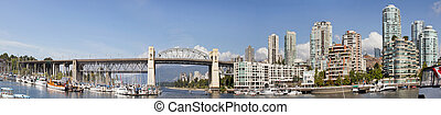 Vancouver BC Skyline and Burrard Bridge Panorama - Vancouver...