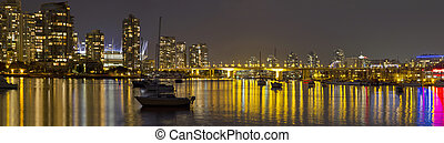Vancouver BC Skyline and Cambie Bridge at Night