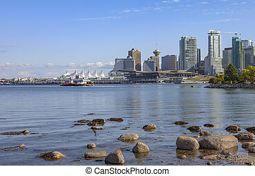 Vancouver BC skyline and shoreline Canada.