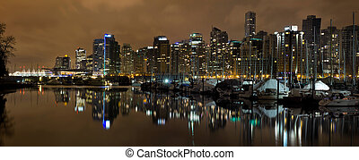 Vancouver BC Skyline from Stanley Park at Nigh