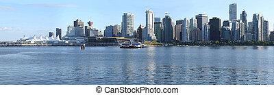 vancouver, bc, skyline, &, lugar canadá, panorama, canada.