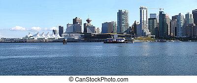 Vancouver BC waterfront skyline panorama.