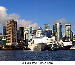 vancouver, canadá, cityscape, con, crucero, ships.