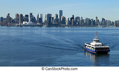 vancouver, canada, cityscape, à, mer, bus.