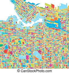 Vancouver Canada, Colorful Vector Map