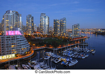 Vancouver, Canada - Horizontal northeast shot of downtown...