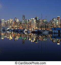 vancouver, canada, soir, cityscape