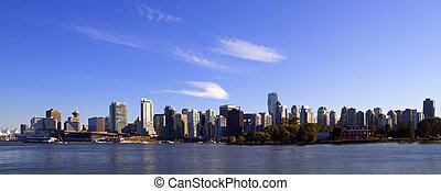 vancouver, centro, panoramico, cityscape, canada, bc, .