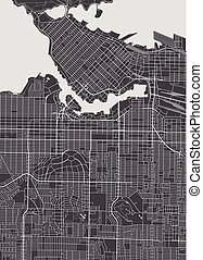Vancouver city plan, detailed vector map