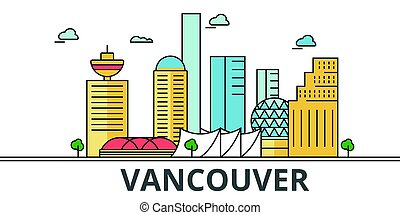 Vancouver city skyline. Buildings, streets, silhouette, architecture, landscape, panorama, landmarks. Editable strokes. Flat design line vector illustration concept. Isolated icons on white background
