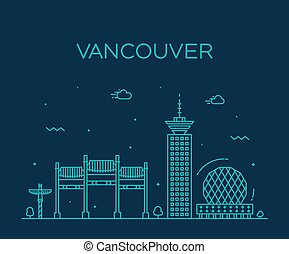 Vancouver city skyline Canada vector linear style