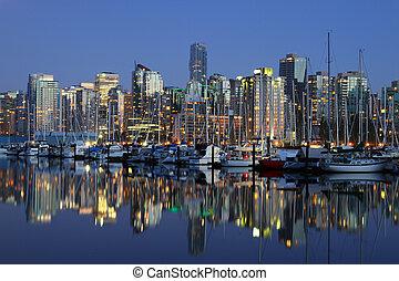 vancouver, cityscape, canada, soir