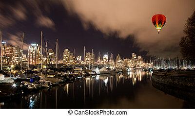 vancouver, ciudad, puerto, por la noche, canadá, ac