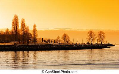 vancouver, coucher soleil, port
